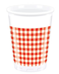 Red, Green, Yellow, Black, Blue Squares - Plastic Cups 200ml Red Squares