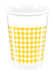 Red, Green, Yellow, Black, Blue Squares - Plastic Cups 200ml Yellow Squares