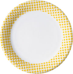 Red, Green, Yellow, Black, Blue Squares - Paper Plates Medium 20 Cm Yellow Squares