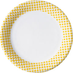 Red, Green, Yellow, Black, Blue Squares - Paper Plates Large 23 Cm Yellow Squares
