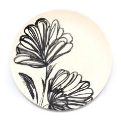 Decorata™ Bamboo Fiber Black Flower Set - Bamboo Fiber Plate 24cm - 90751