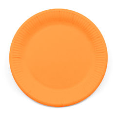 Decorata™ Compostable Solid Colour Collection - Industrial Compostable Paper Plates Large 23cm (Orange) - 90881