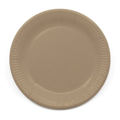 Decorata™ Compostable Solid Colour Collection - Industrial Compostable Paper Plates Large 23cm (Tortora) - 90903