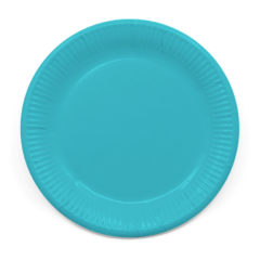 Decorata™ Compostable Solid Colour Collection - Industrial Compostable Paper Plates Large 23cm (Turquoise) - 90895