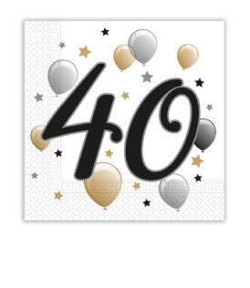 Milestone - Two-ply Paper Napkins 33x33cm Age 40 - 88867