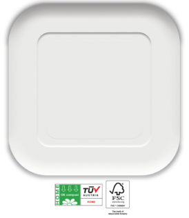 White Compostable Products - Home Compostable White Square Paper Plates 23x23 cm FSC - 91373