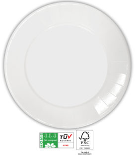 White Compostable Products - Home Compostable White Paper Plates 23 cm FSC - 91375