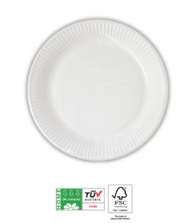 White Compostable Products - Home Compostable White Paper Plates 16 cm FSC - 91377