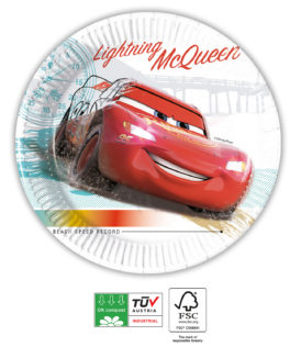 Cars High Speed Compostable - Paper Plates 20 cm Industrial Compostable FSC - 91516