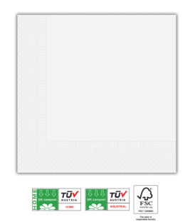 White Compostable Products - Home & Industrial Compostable Three-Ply Paper Napkins 33x33 cm FSC - 91589