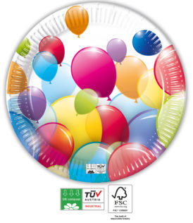 Flying Balloons Compostable - Industrial Compostable Paper Plates 23 cm - 91656