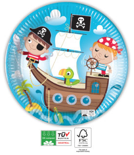 Pirates Treasure Hunt Compostable - Industrial Compostable Paper Plates 23 cm FSC - 91660