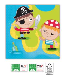Pirates Treasure Hunt Compostable - Home & Industrial Compostable Napkins 33x33 cm FSC - 91666