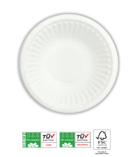 White Compostable Products - Home Compostable White Paper Bowls 15,5 cm FSC - 92213