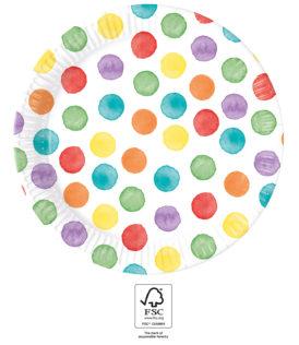 Multiwater Color Dots - Paper Plates 23 cm FSC. - 93448