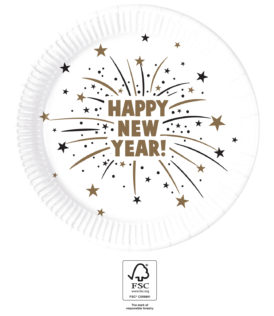 Happy New Year Flares - Paper Plates 23 cm FSC. - 93519