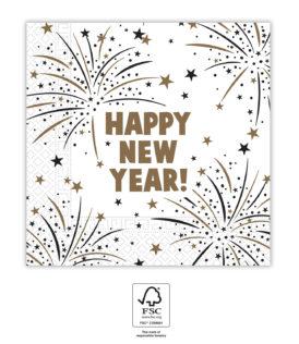 Happy New Year Flares - Three-Ply Paper Napkins 33x33 cm. FSC. - 93544