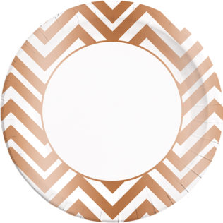 Copper Chevron Paper Plates Large 23cm  sc 1 st  Procos Party & Gold Rose Gold u0026 Copper - Copper Chevron Paper Plates Large 23cm ...