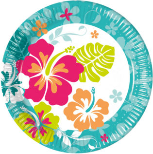 Hawaiian - Paper Plates Large 23cm  sc 1 st  Procos Party & Hawaiian - Paper Plates Large 23cm - Procos